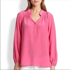 LILLY PULITZER Elsa 100% Silk Blouse FLAWED